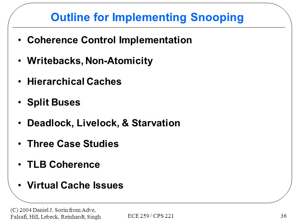 Outline for Implementing Snooping