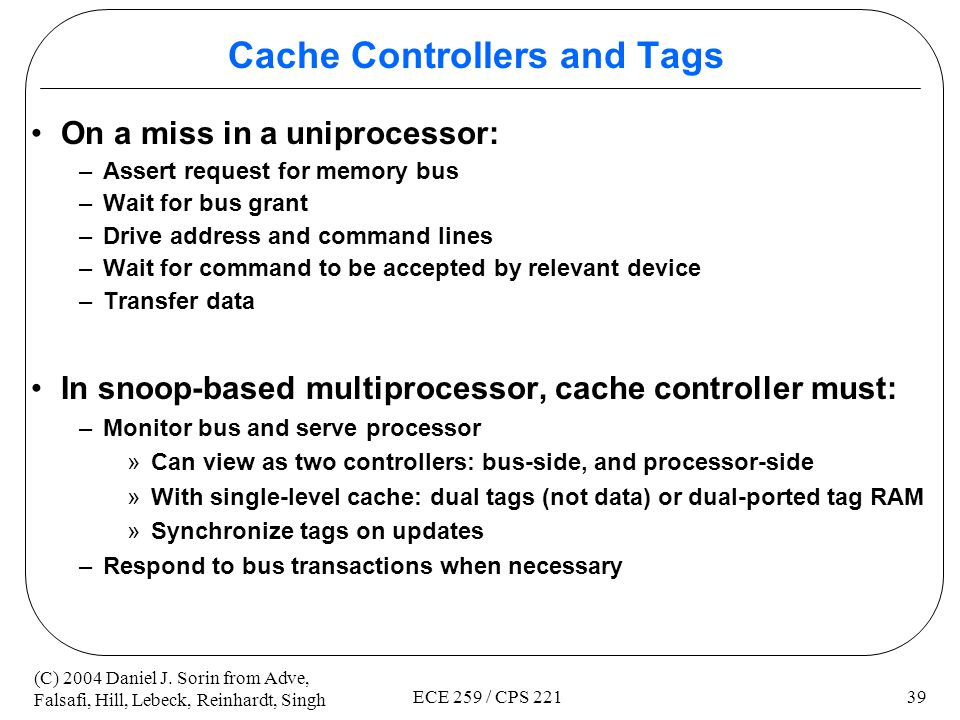 Cache Controllers and Tags