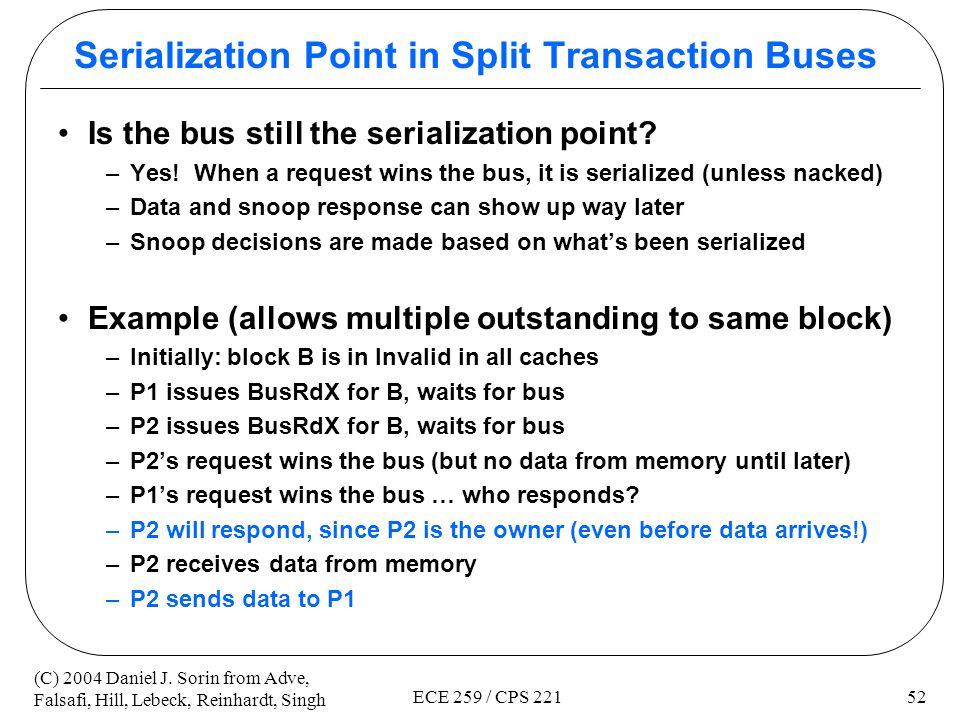 Serialization Point in Split Transaction Buses