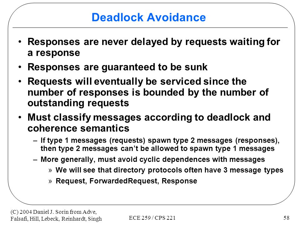 Deadlock Avoidance Responses are never delayed by requests waiting for a response. Responses are guaranteed to be sunk.