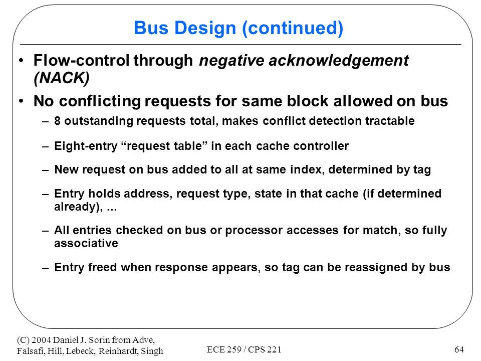 Bus Design (continued)