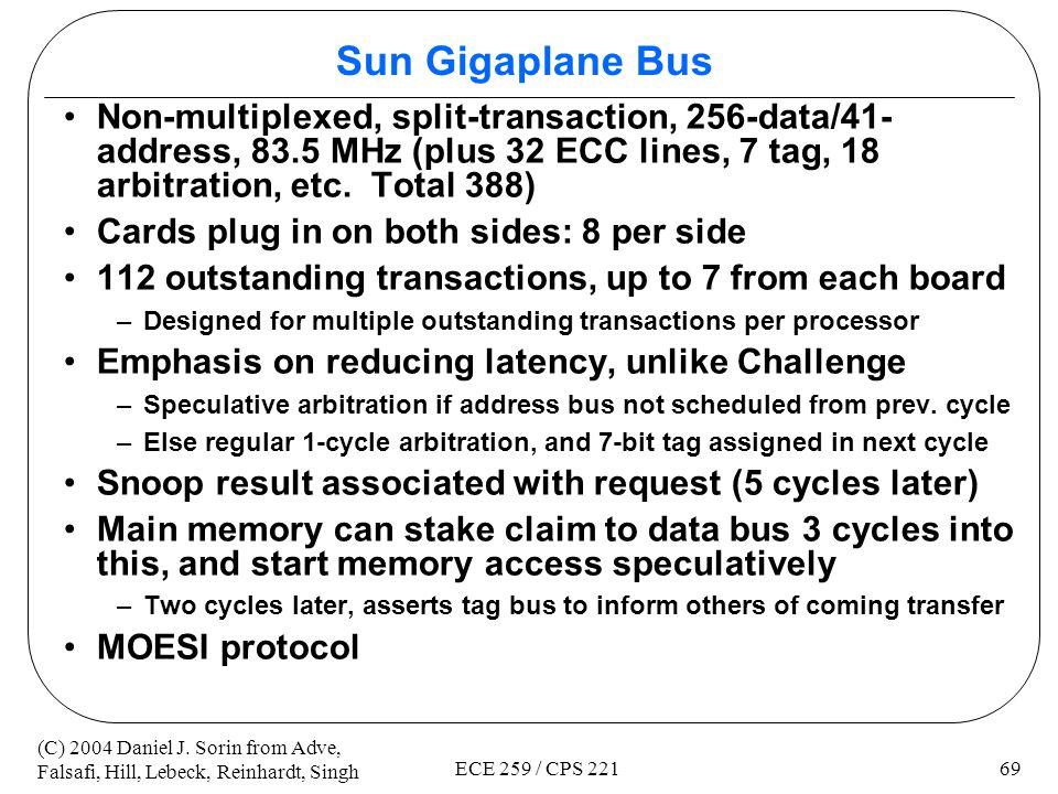 Sun Gigaplane Bus Non-multiplexed, split-transaction, 256-data/41-address, 83.5 MHz (plus 32 ECC lines, 7 tag, 18 arbitration, etc. Total 388)