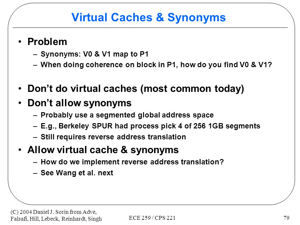 Virtual Caches & Synonyms