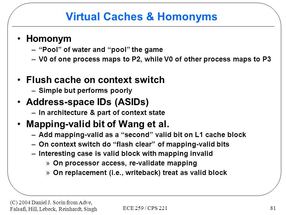 Virtual Caches & Homonyms