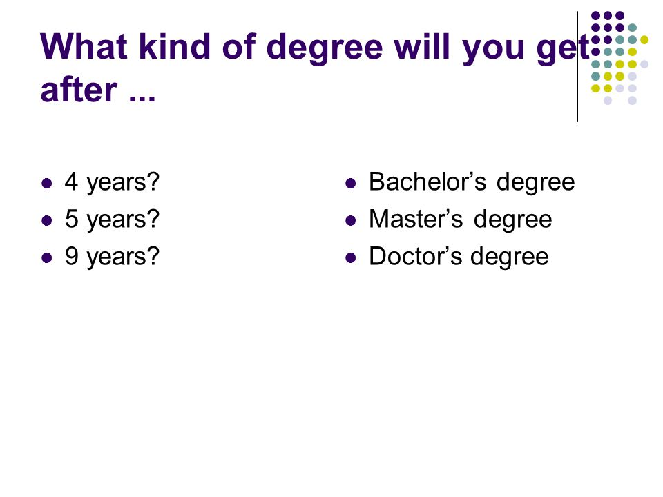 What kind of degree will you get after ...