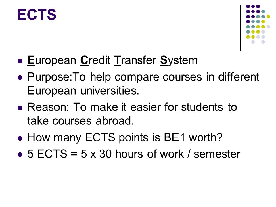 ECTS European Credit Transfer System