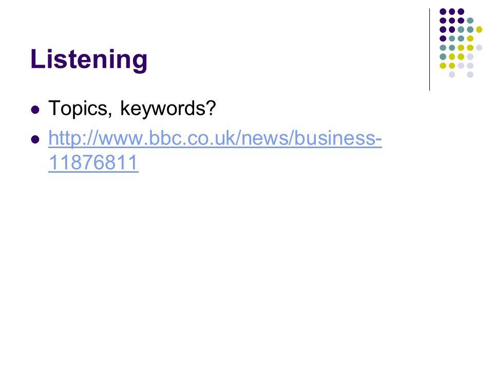 Listening Topics, keywords