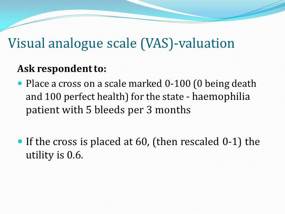 Visual analogue scale (VAS)-valuation