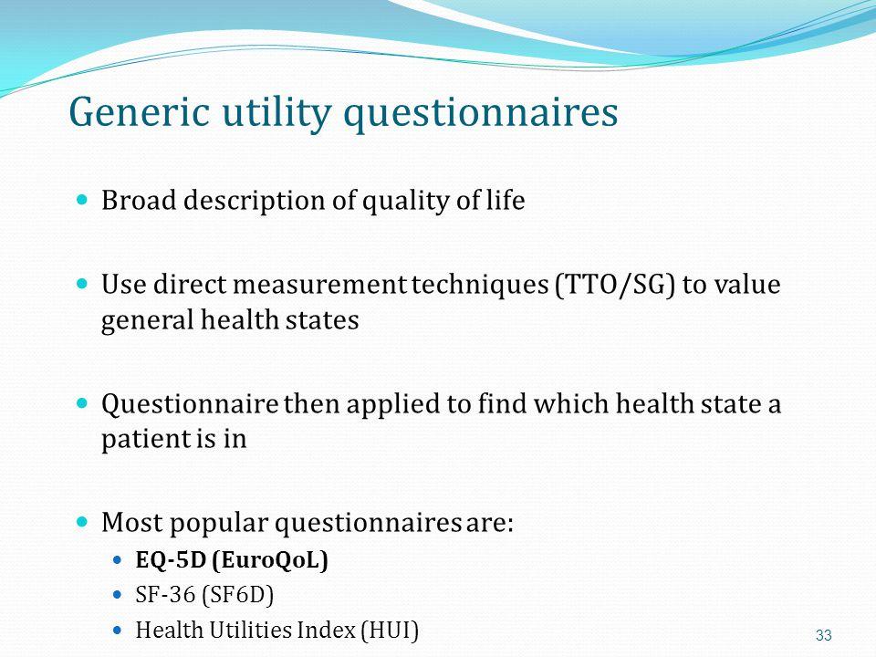 Generic utility questionnaires