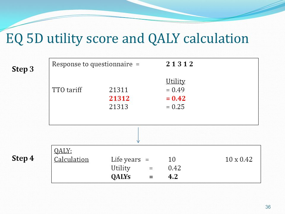 EQ 5D utility score and QALY calculation