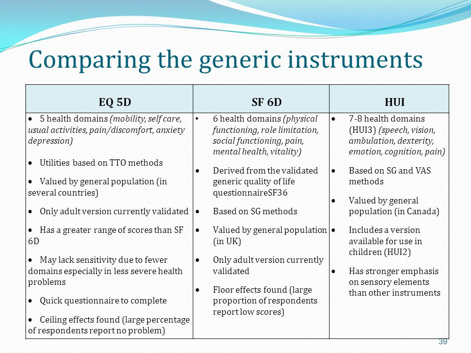Comparing the generic instruments
