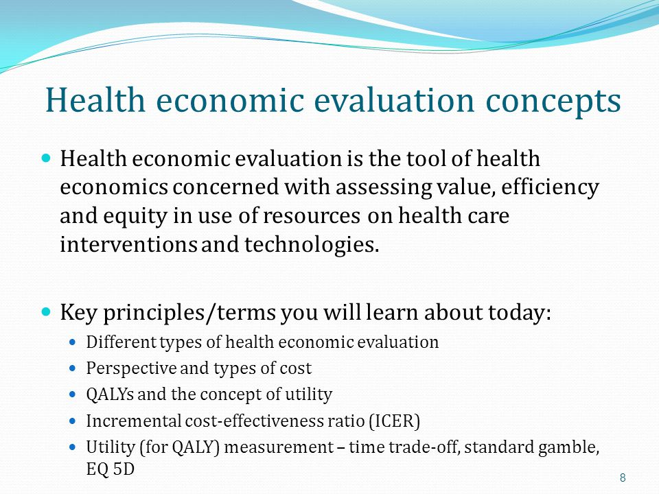 Health economic evaluation concepts