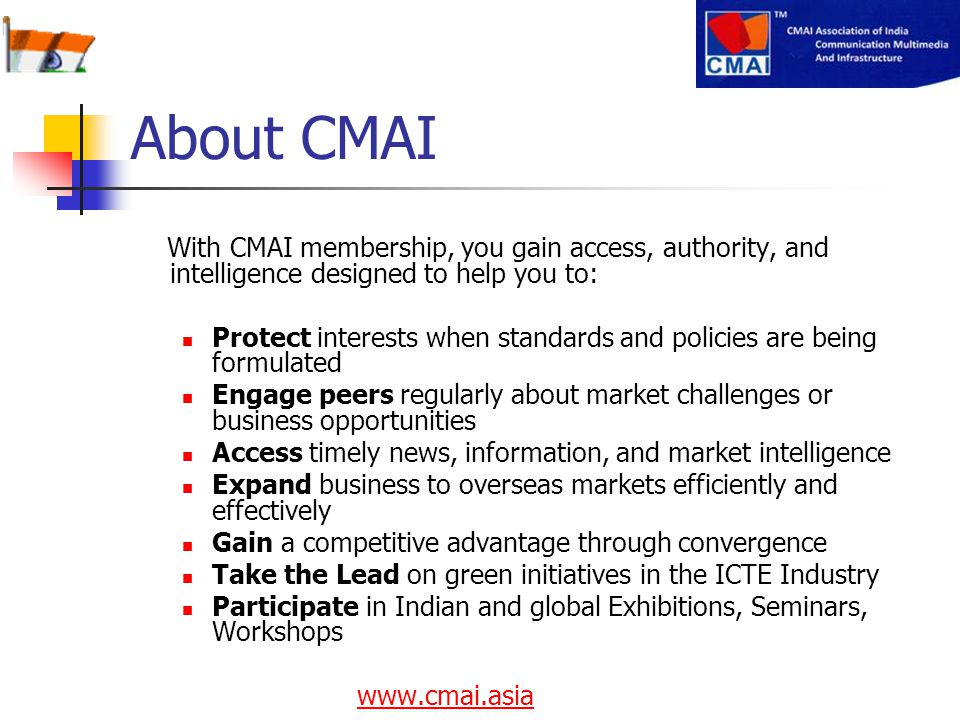 About CMAI With CMAI membership, you gain access, authority, and intelligence designed to help you to: