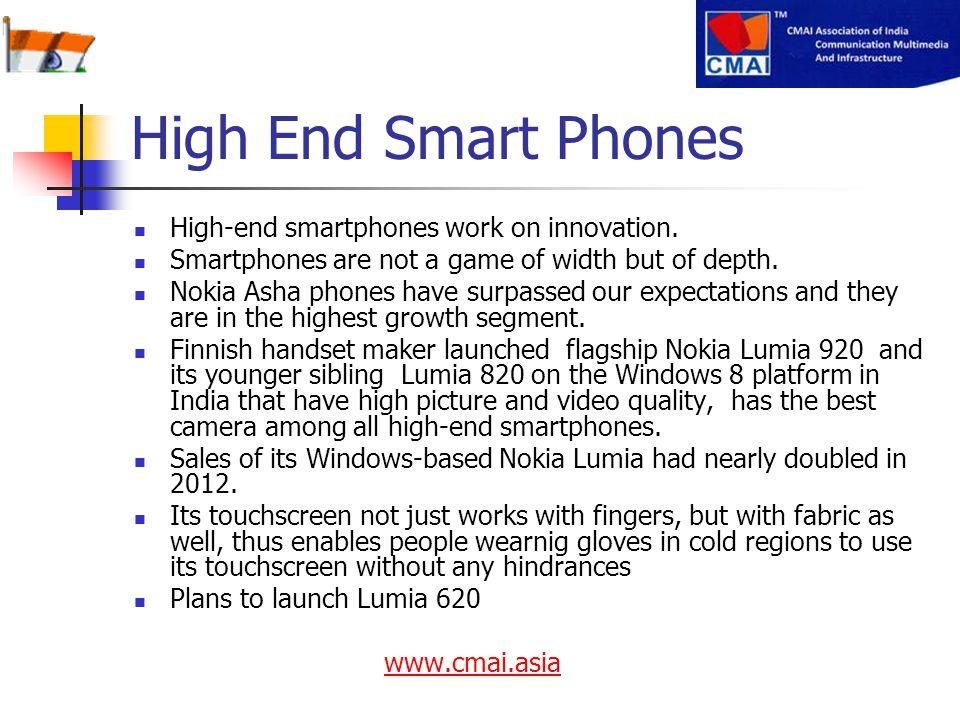 High End Smart Phones High-end smartphones work on innovation.