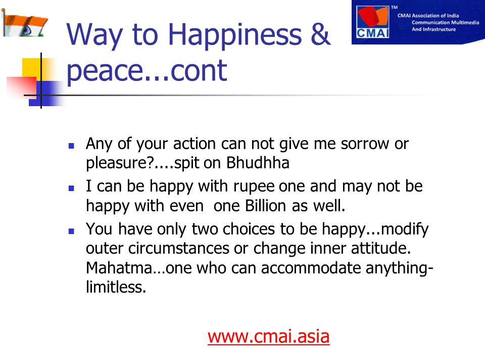 Way to Happiness & peace...cont