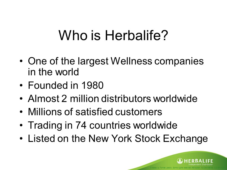 Who is Herbalife One of the largest Wellness companies in the world