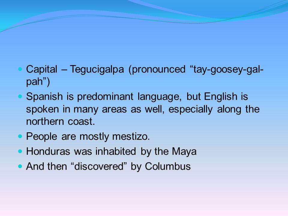 Capital – Tegucigalpa (pronounced tay-goosey-gal-pah )