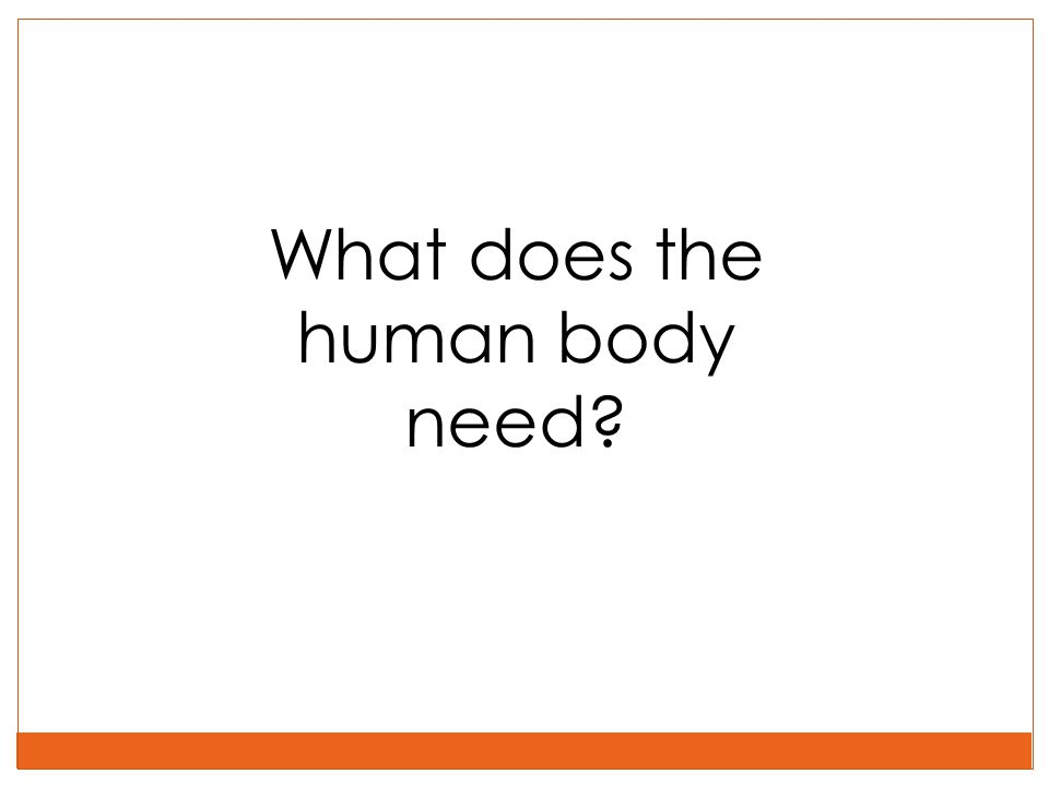 What does the human body need