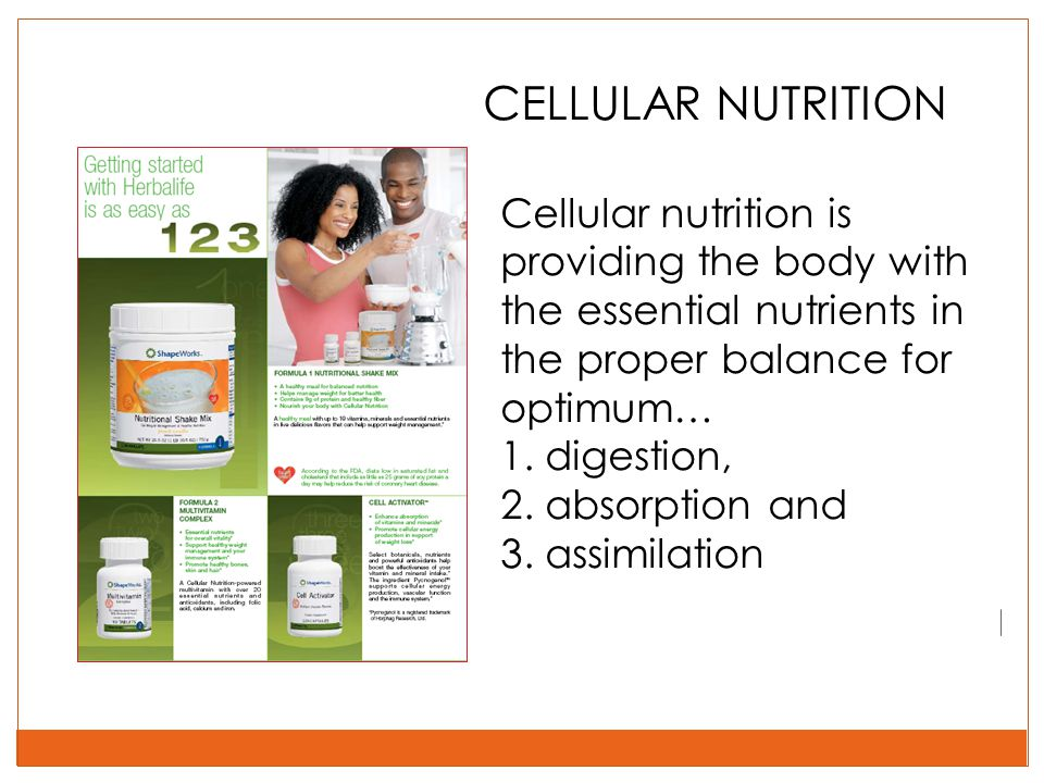 CELLULAR NUTRITION Cellular nutrition is providing the body with the essential nutrients in the proper balance for optimum…