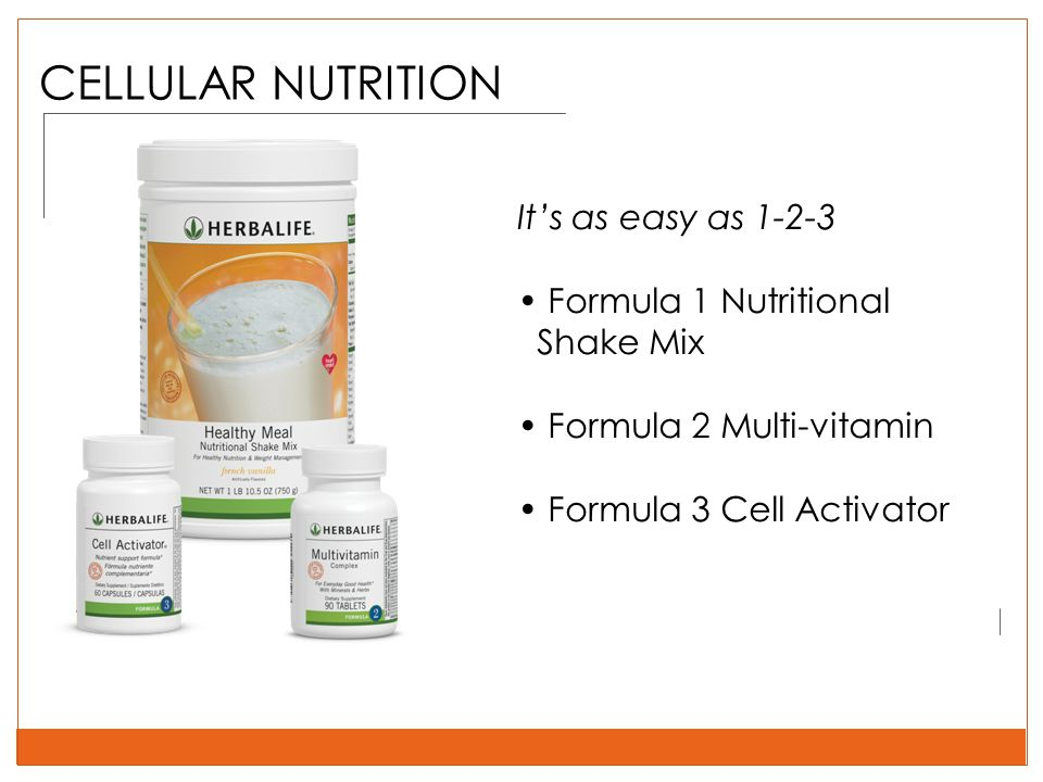 CELLULAR NUTRITION It's as easy as 1-2-3