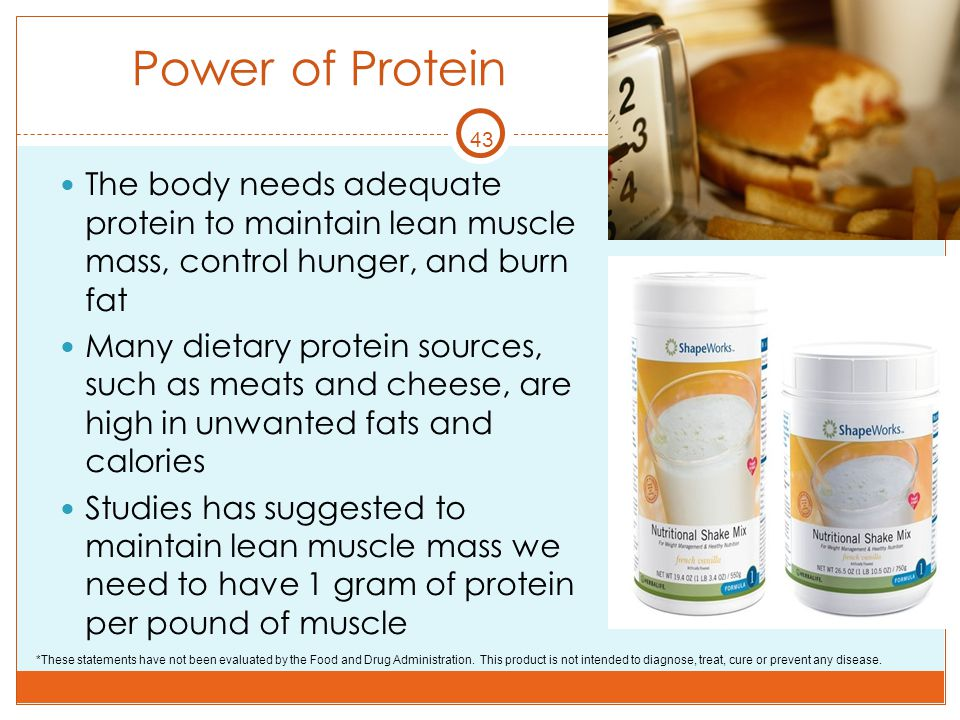 Power of Protein 43. The body needs adequate protein to maintain lean muscle mass, control hunger, and burn fat.