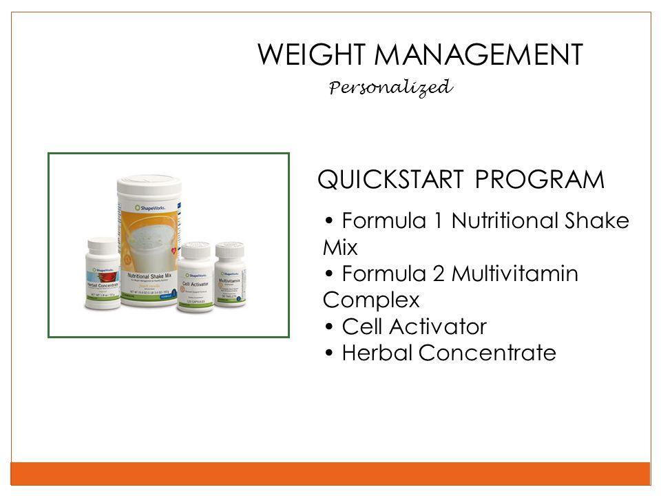 WEIGHT MANAGEMENT QUICKSTART PROGRAM Formula 1 Nutritional Shake Mix