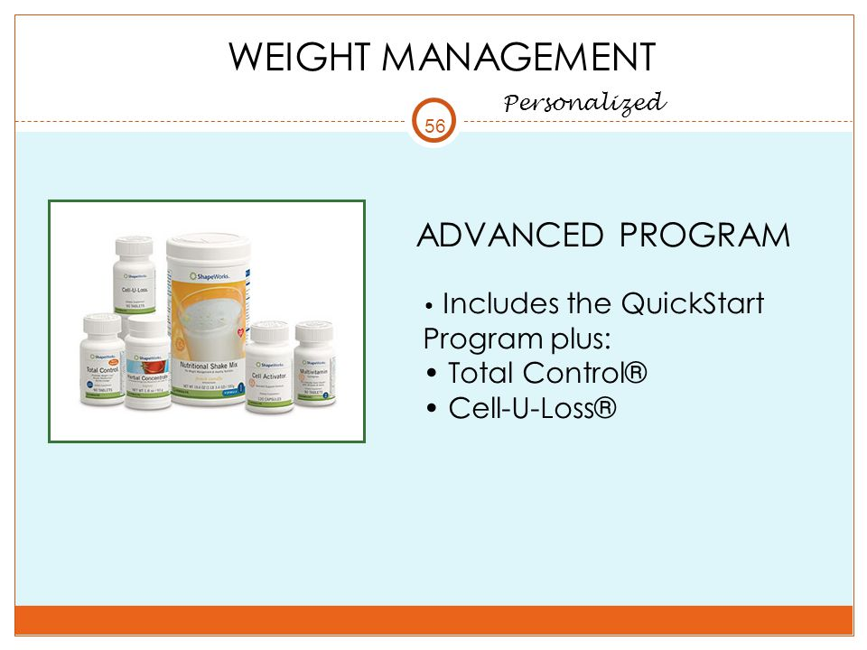 WEIGHT MANAGEMENT ADVANCED PROGRAM Total Control® Cell-U-Loss®