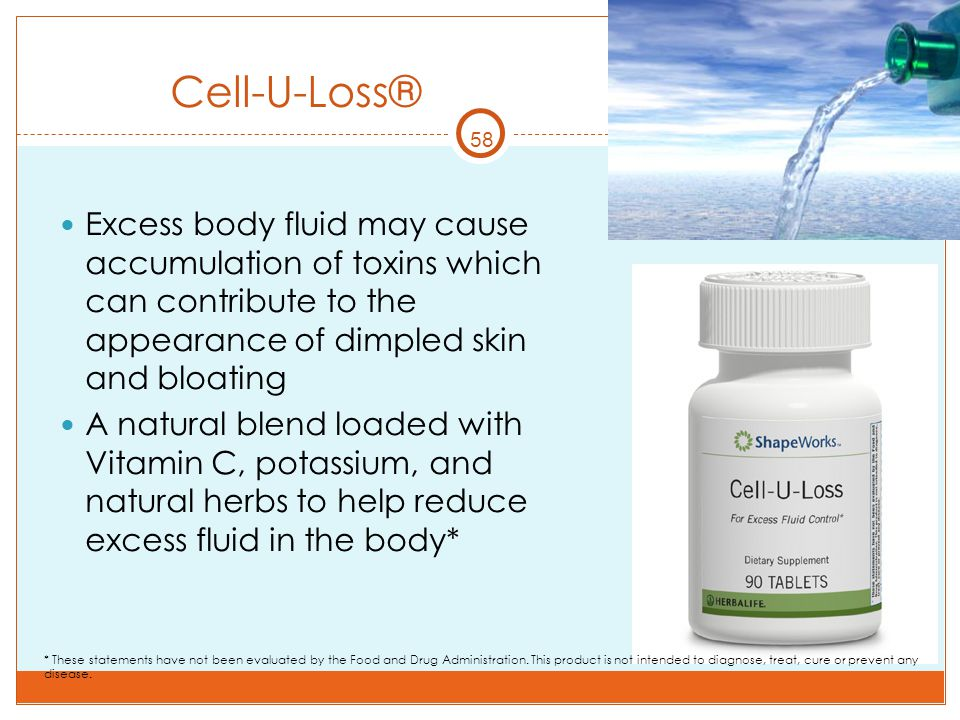 Cell-U-Loss® 58. Excess body fluid may cause accumulation of toxins which can contribute to the appearance of dimpled skin and bloating.