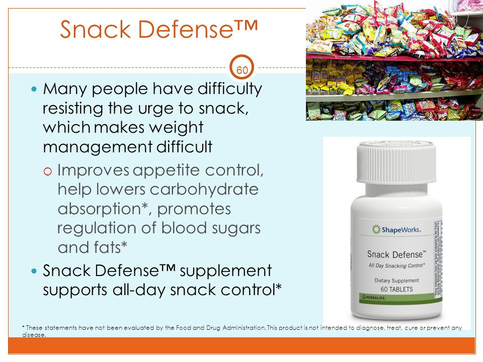 Snack Defense™ 60. Many people have difficulty resisting the urge to snack, which makes weight management difficult.
