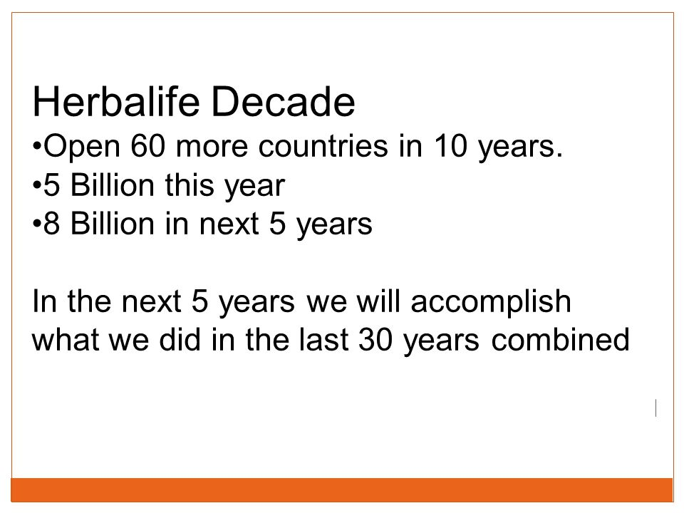 Herbalife Decade Open 60 more countries in 10 years.