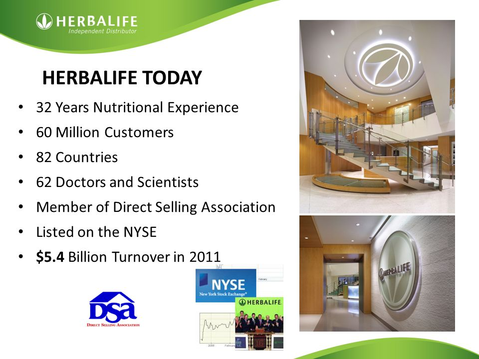 HERBALIFE TODAY 32 Years Nutritional Experience. 60 Million Customers. 82 Countries. 62 Doctors and Scientists.