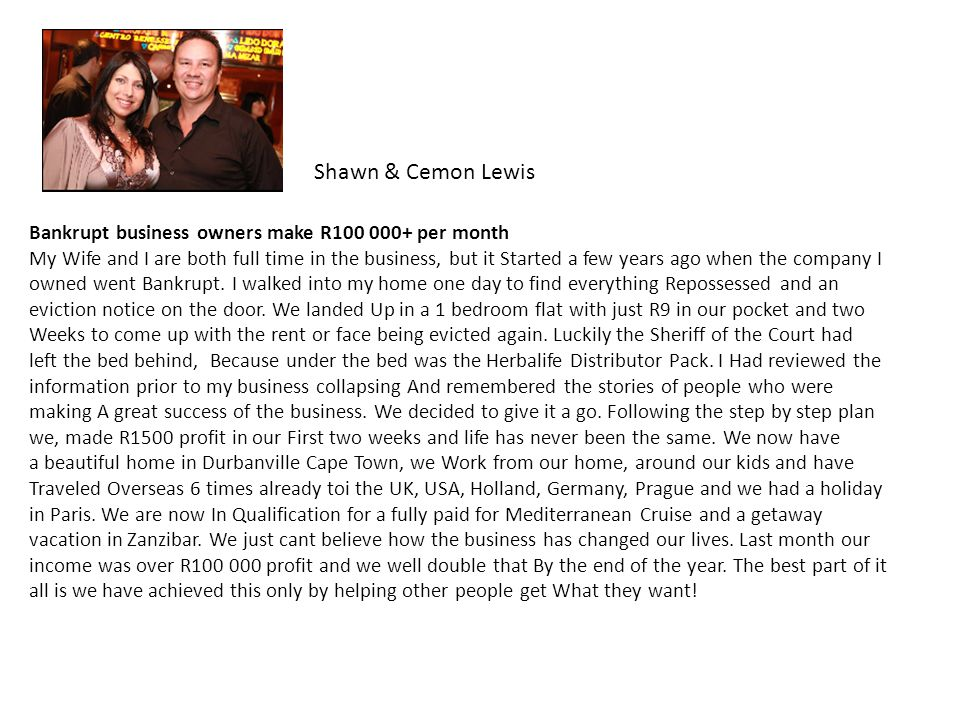 Shawn & Cemon Lewis Bankrupt business owners make R100 000+ per month