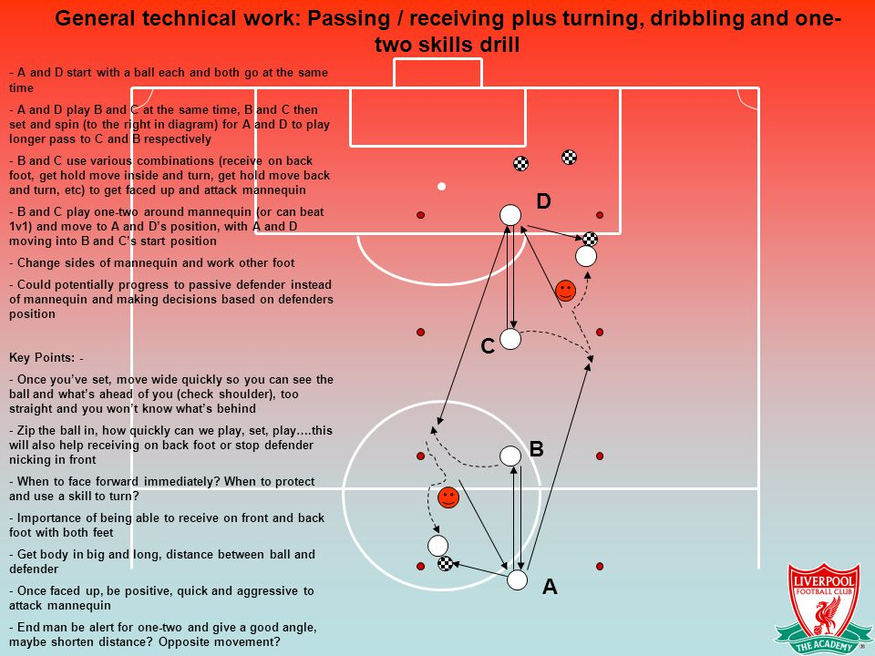 General technical work: Passing / receiving plus turning, dribbling and one-two skills drill