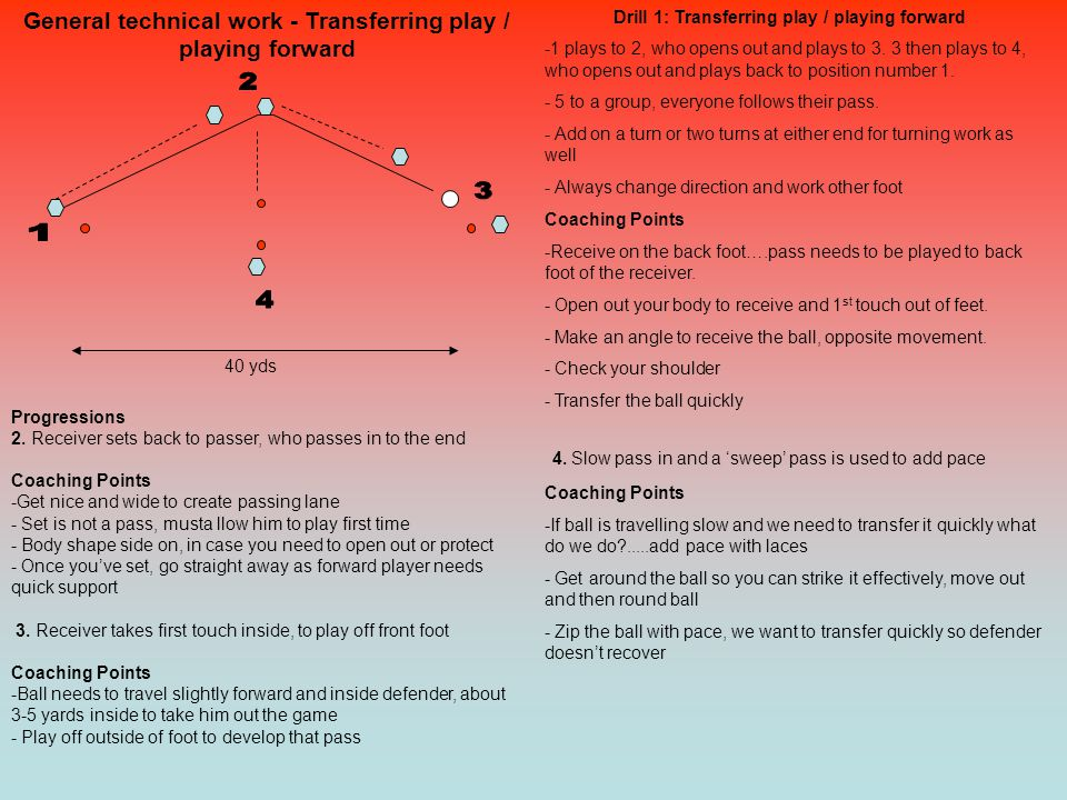 General technical work - Transferring play / playing forward