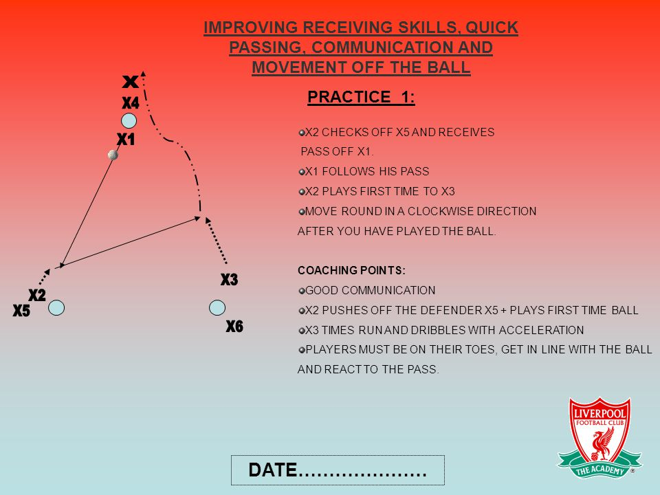 IMPROVING RECEIVING SKILLS, QUICK PASSING, COMMUNICATION AND MOVEMENT OFF THE BALL