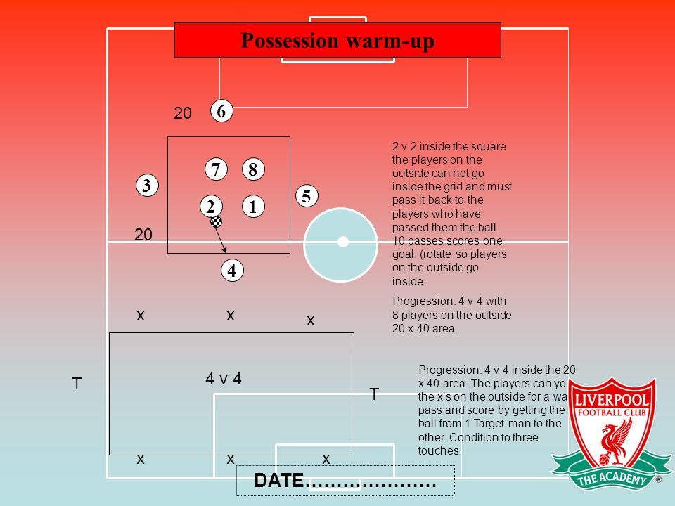 Possession warm-up 6 7 8 3 5 2 1 4 DATE………………… 20 20 x x x 4 v 4 T T x