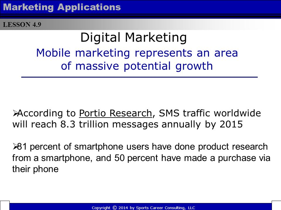 Mobile marketing represents an area of massive potential growth