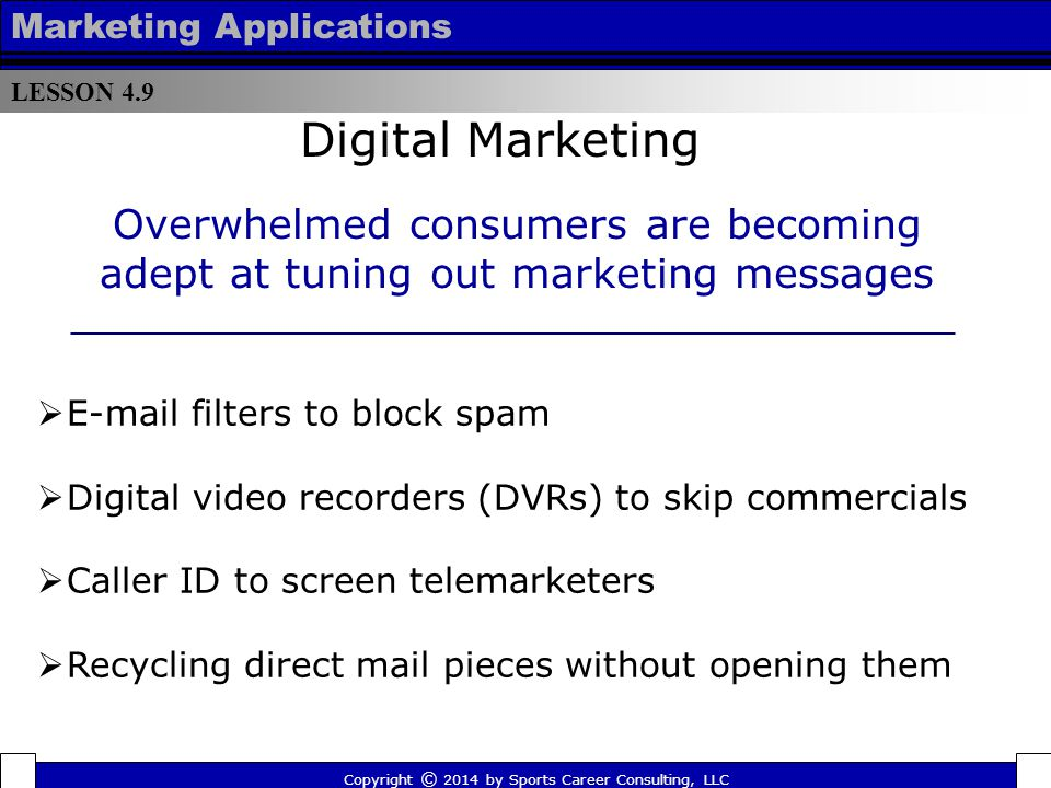 LESSON 4.9 Marketing Applications. Digital Marketing. Overwhelmed consumers are becoming adept at tuning out marketing messages.