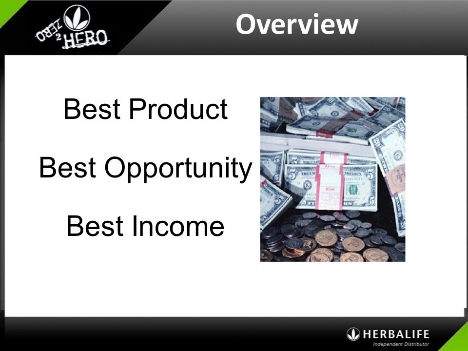 Overview Best Product Best Opportunity Best Income