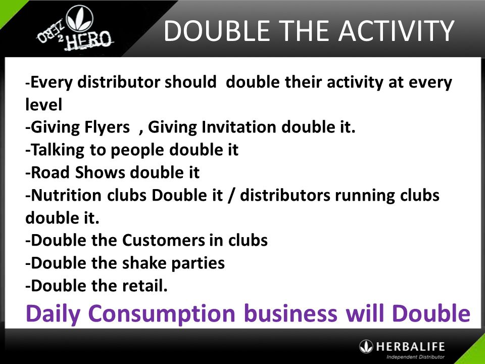 DOUBLE THE ACTIVITY Daily Consumption business will Double