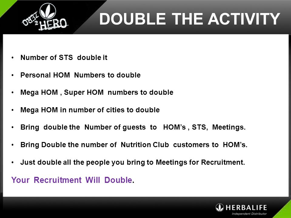 DOUBLE THE ACTIVITY Your Recruitment Will Double.