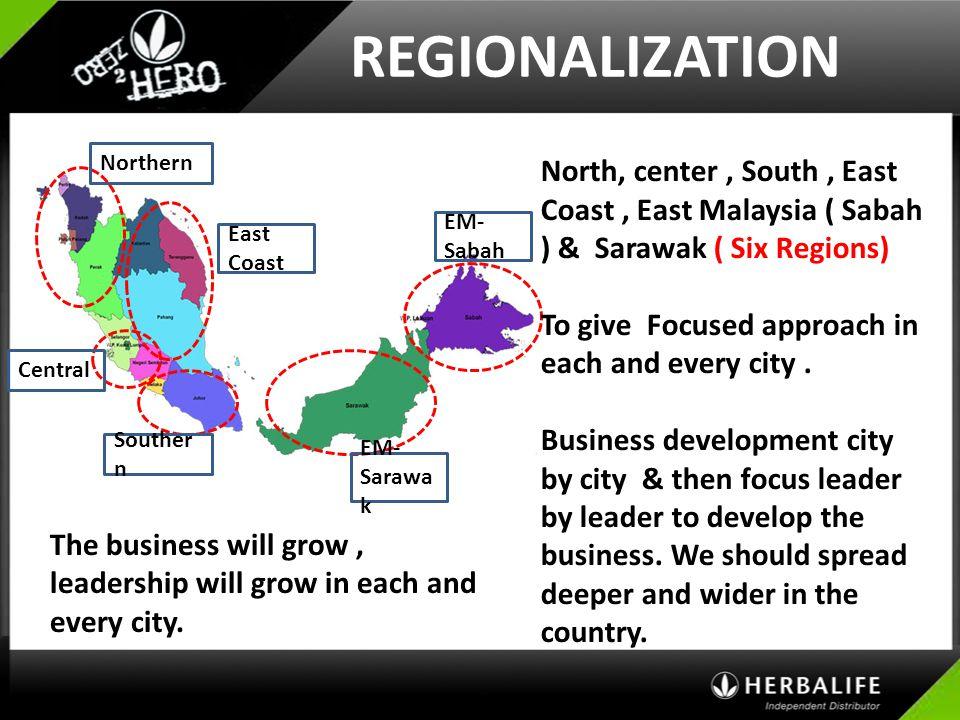 REGIONALIZATION North, center , South , East Coast , East Malaysia ( Sabah ) & Sarawak ( Six Regions)
