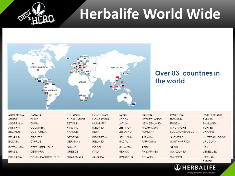 Herbalife World Wide Over 83 countries in the world US English_STS CD
