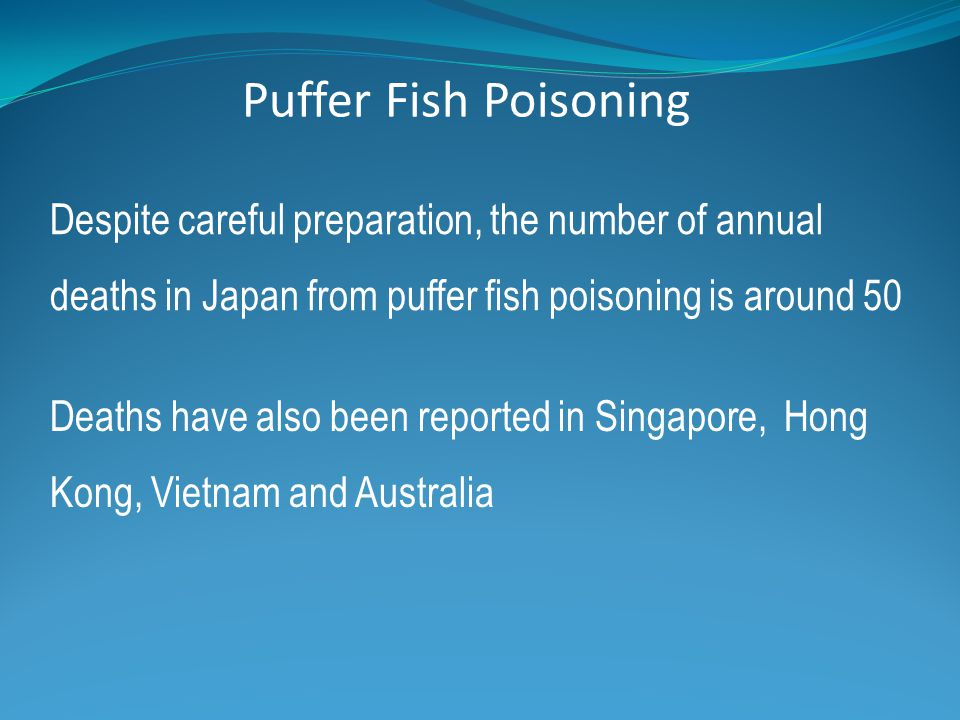 Puffer Fish Poisoning Despite careful preparation, the number of annual deaths in Japan from puffer fish poisoning is around 50.