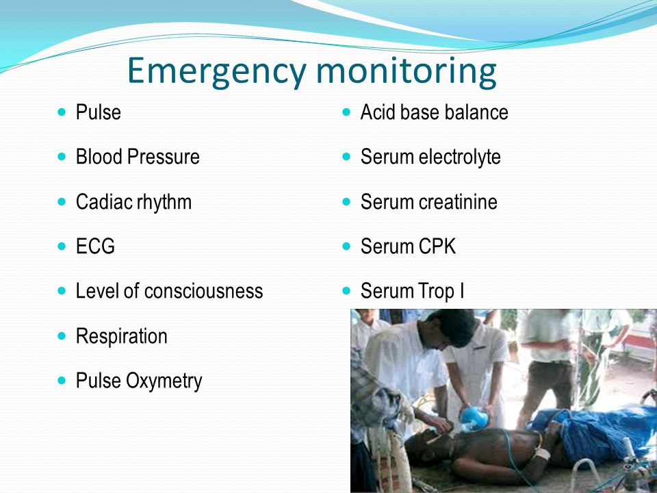 Emergency monitoring Pulse Blood Pressure Cadiac rhythm ECG