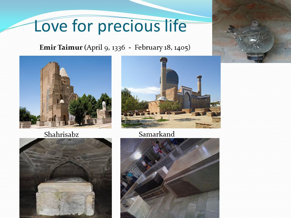 Love for precious life Emir Taimur (April 9, 1336 - February 18, 1405)