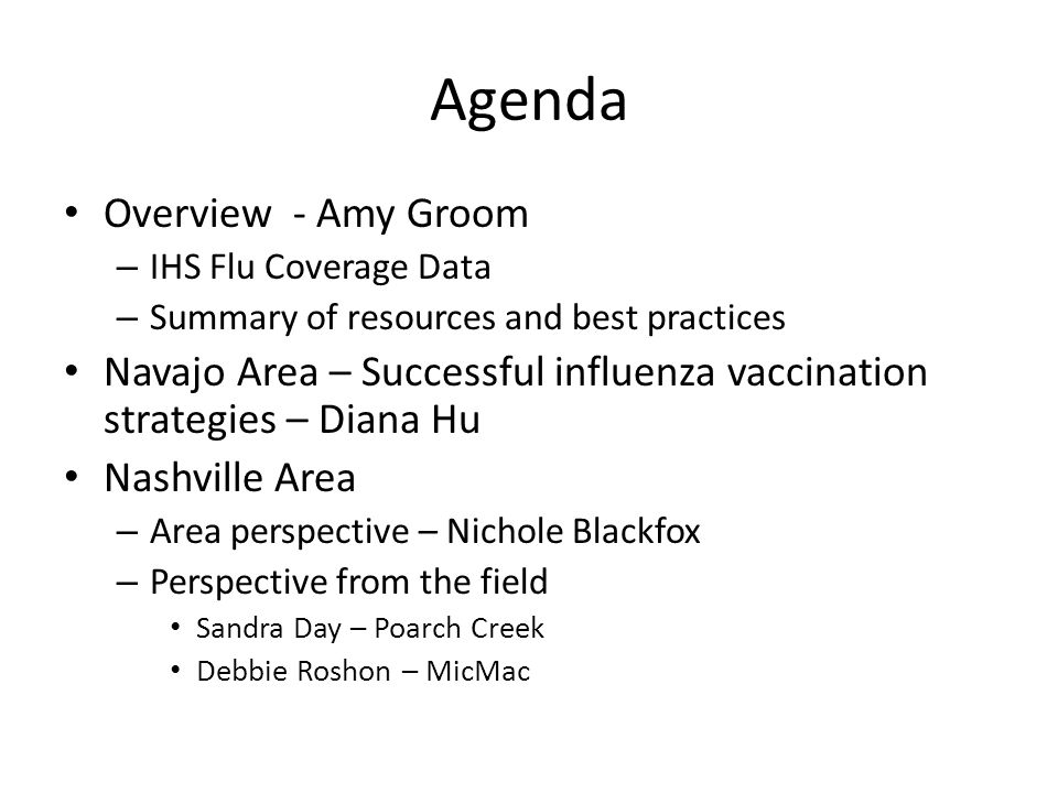 Agenda Overview - Amy Groom