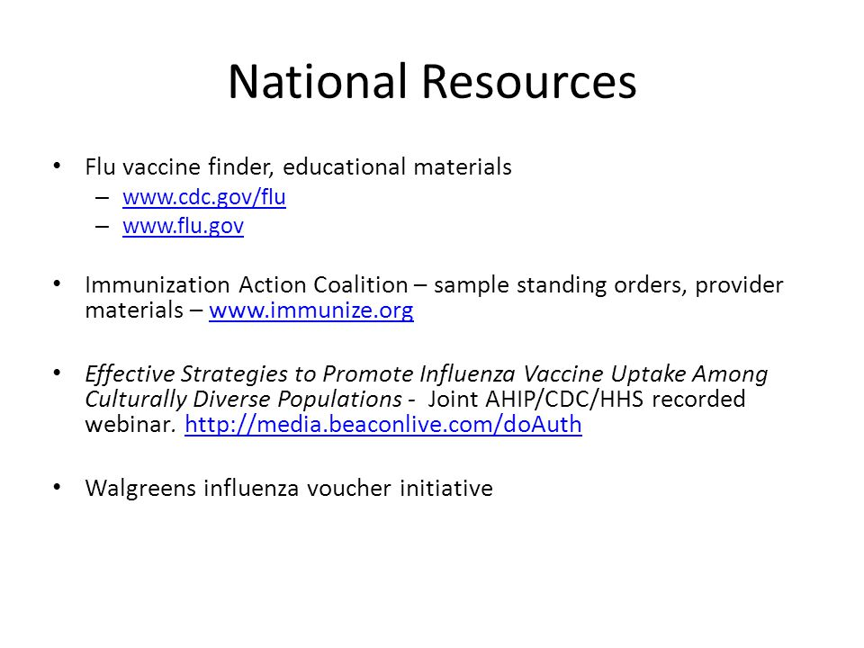 National Resources Flu vaccine finder, educational materials
