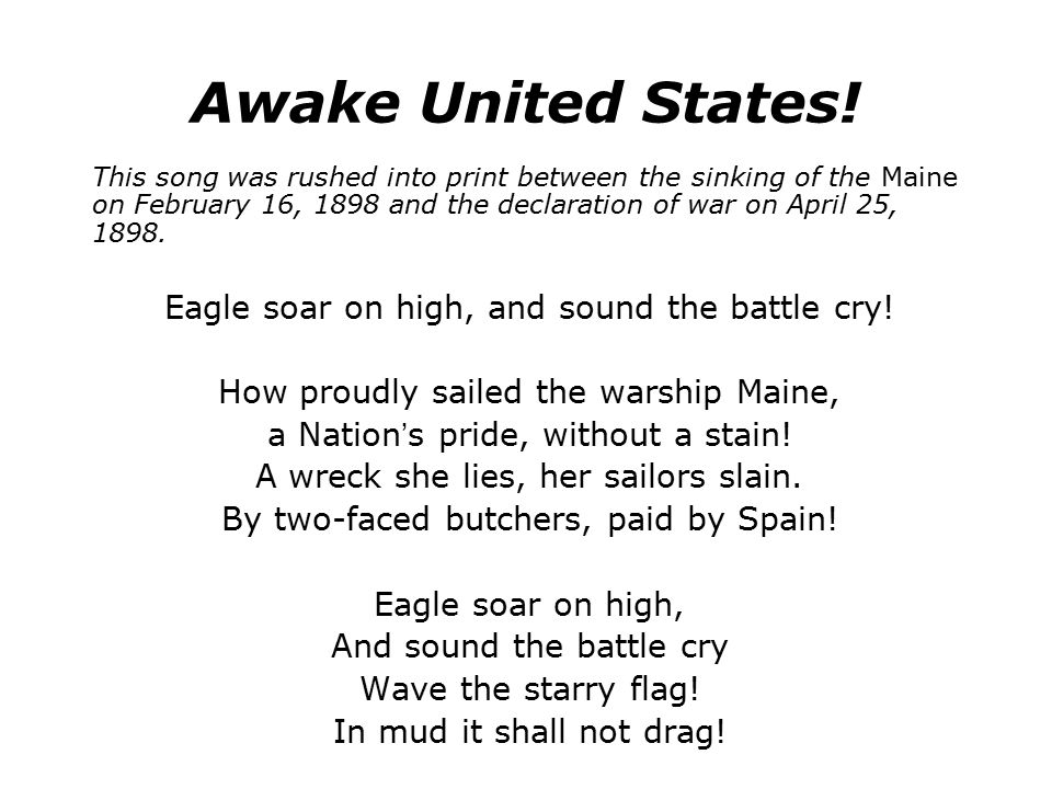 Awake United States! Eagle soar on high, and sound the battle cry!
