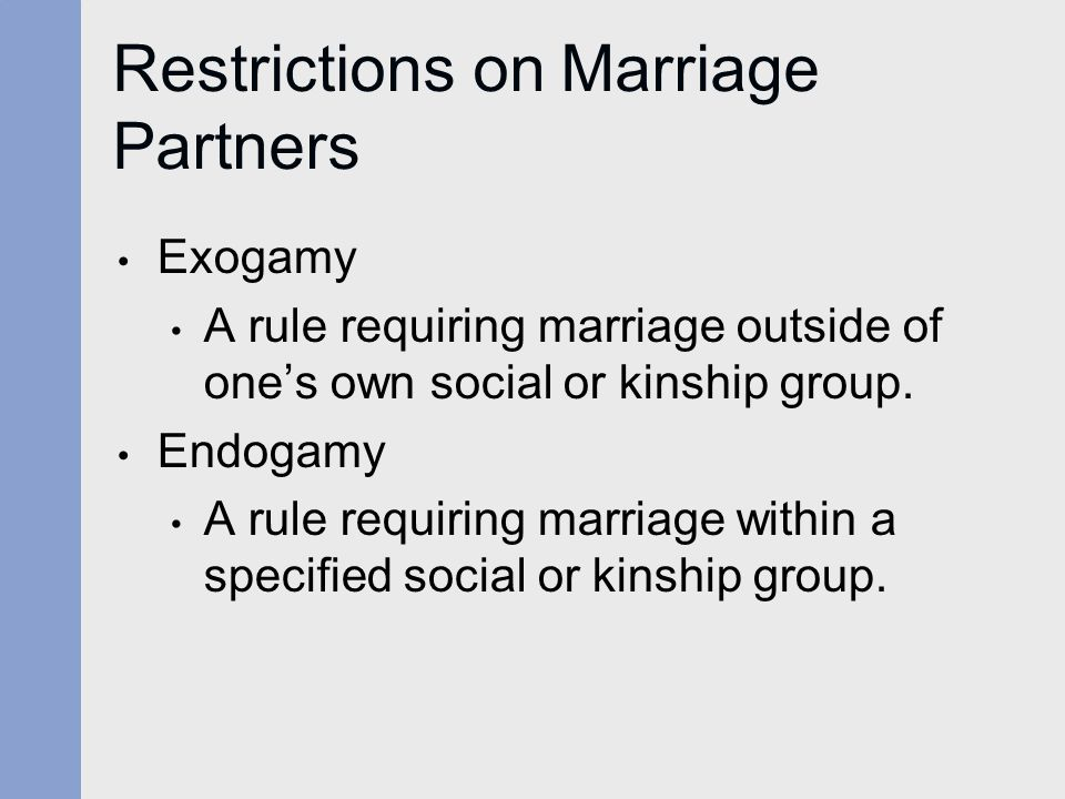 Restrictions on Marriage Partners